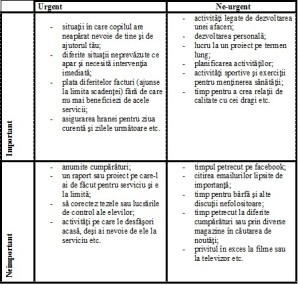diagrama importantei activitatilor
