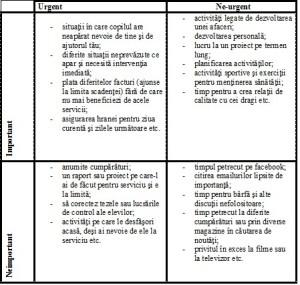 diagrama importantei activitatilor